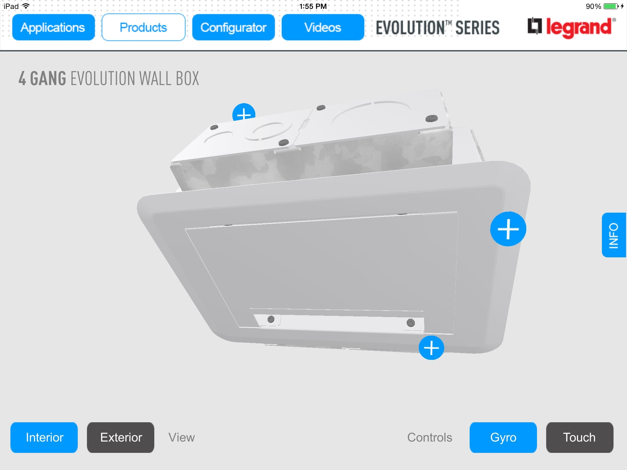 Legrand Evolution Mobile App 3D Product Rotation Screen - Habanero